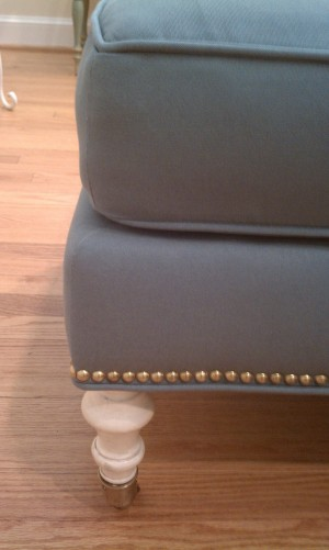 Tanglewood living room furniture install ottoman detail