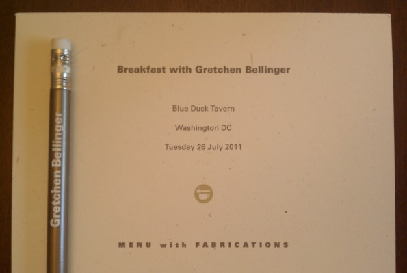Breakfast with Gretchen Bellinger menu