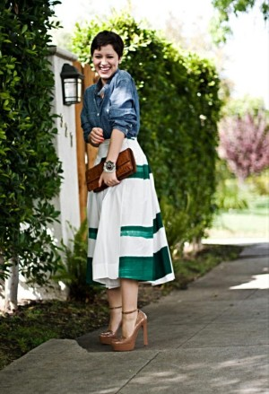 Karla's closet denim shirt and white and green skirt