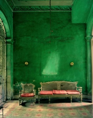 Michael Eastman Cuba photo green walls and coral sofa