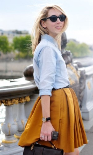 Pretty Stuff Tumblr denim shirt and mustard skirt