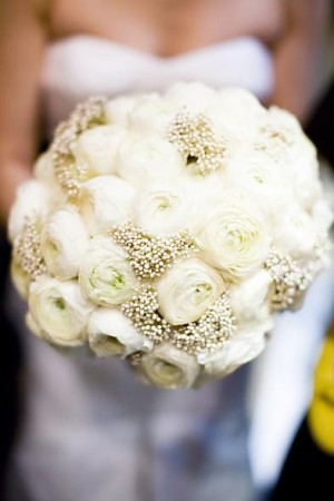 Wedding bee baby's breath and ranunculus bouquet
