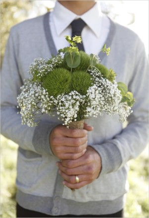 wedding chicks babys breath bouquet