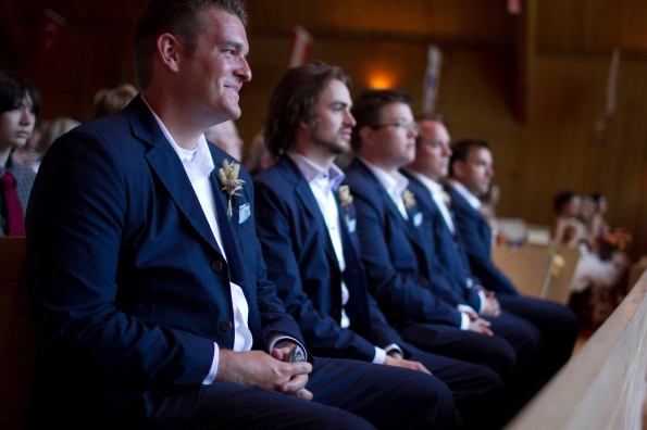 Groomsmen in the church