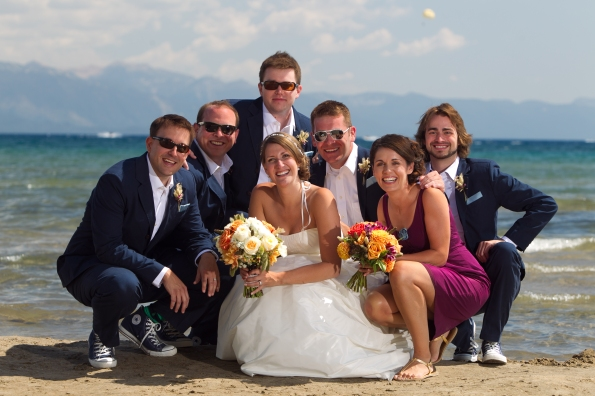jojo with the groomsmen and christy at kings beach