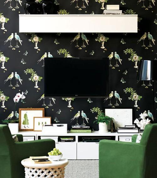 Nina Campbell Perroquet Wallpaper in black