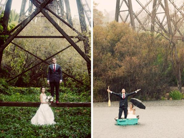Barn wedding in the rain and on a boat