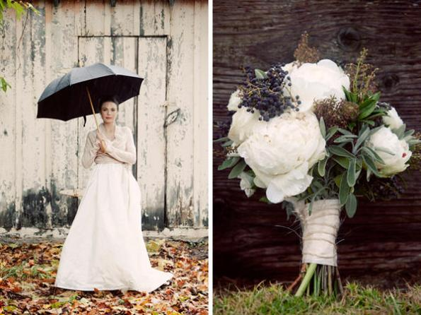 Laura and Brian Barn wedding with black umbrella and bouquet