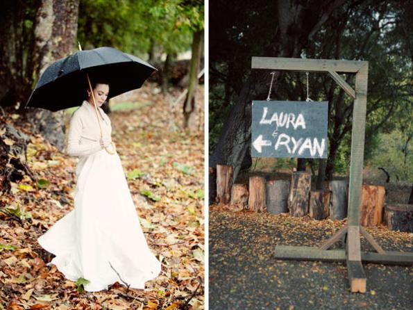 Barn wedding with black umbrellas