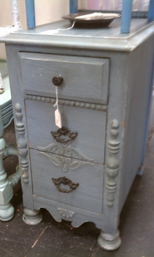 Light blue skinny nightstand