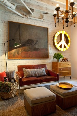 Living room with yellow peace sign living room