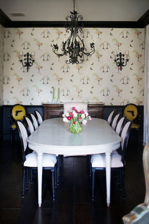 Nina Campbell wallpaper with black molding via Zinke Designs Fall 2011