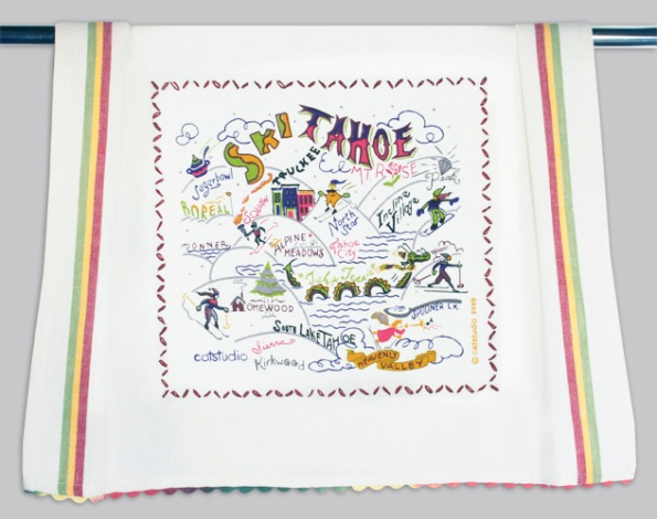 Ski Tahoe dish towel