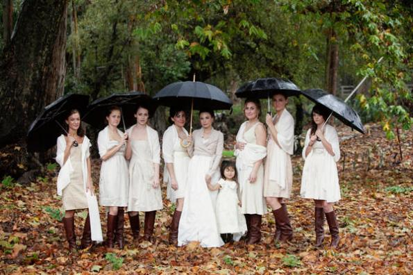Bridal party with black umbrellas