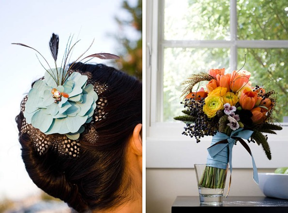 Viola and Phillip Anna Kuperberg hair piece and bouquet