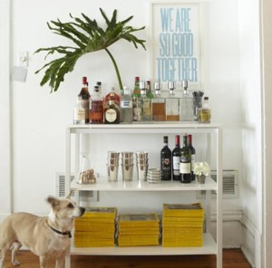 Bar cart with national geographic stacked on the bottom