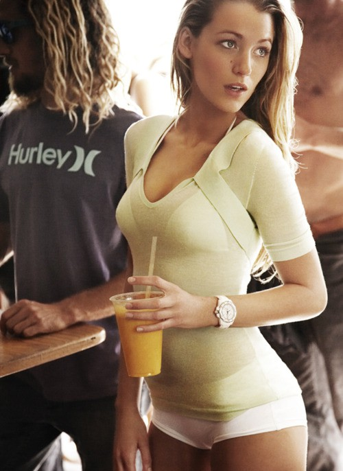blake lively with an orange smoother