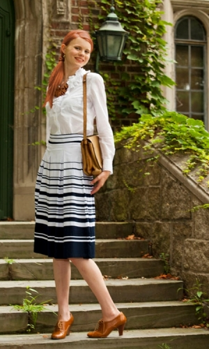 Teacher Pet Skirt navy and white nautical stripes