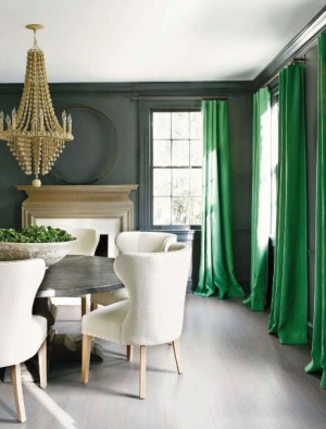 Dining Room in gray and kelly green