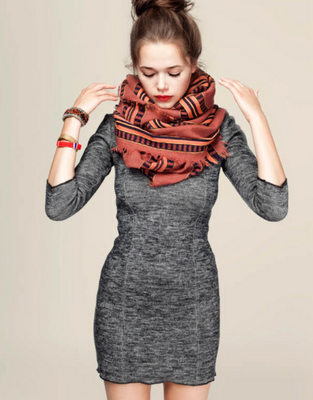 Gray knit dress and big fat rust colored scarf