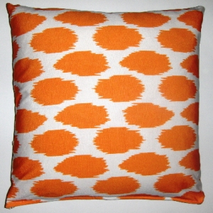 Fabricadabra Cheeky Ikat Print Tangerine organic cotton pillow cover