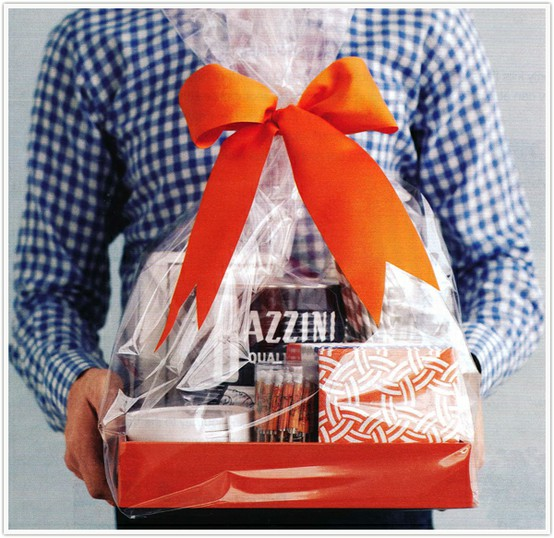 Blue plaid shirt gift box with orange bow