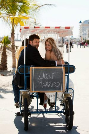 Beth and Jeremy Boardwalk pictures rickshaw