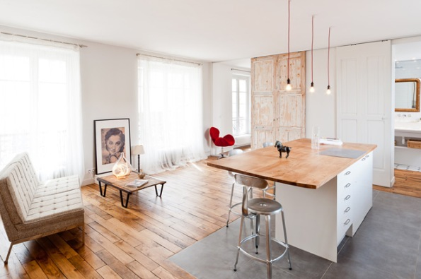 Paris Apartment Living area and kitchen