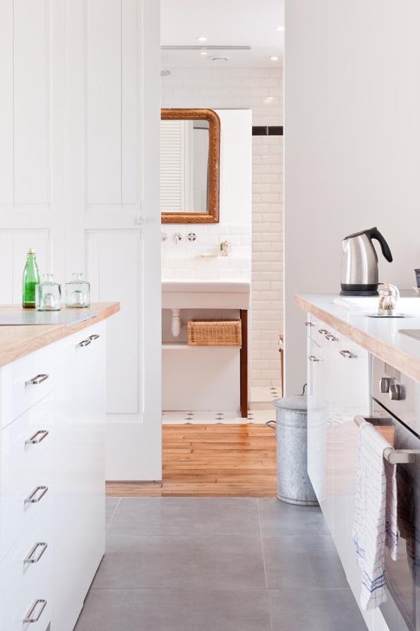 Paris apartment kitchen view into bathroom