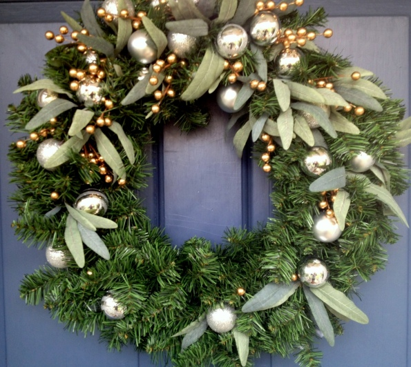 DIY Martha Stewart Christmas Wreath on Front Door.