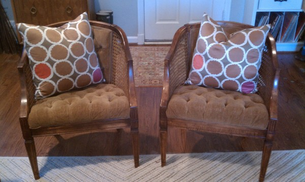 Wood can upholstered chairs