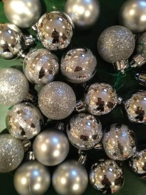 """1"""" silver ornaments"""