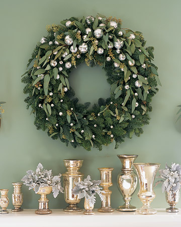 noble fir and eucalyptus wreath via martha stewart